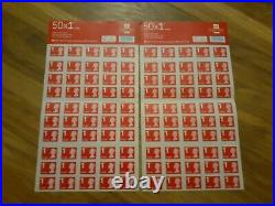100 x Royal Mail First Class Large Letter 1st Class Large Adhesive Stamp Sheets