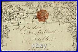 1840 1d Mulready Envelope TOO LATE Birmingham to Dublin Fine Used Cat. £550.00