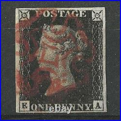 1840 GB QV QUEEN VICTORIA 1d PENNY BLACK STAMP PLATE 8'EA' USED 4 MARGINS