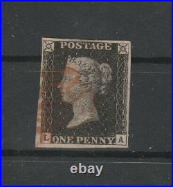 1840 Great Britain Used Penny Black 4 good Margins CERTIFICATE G. Chiavarello