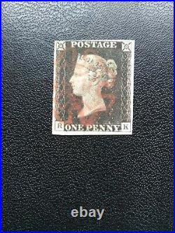1840, PENNY BLACK (RK), FINE USED, 4 GOOD MARGINS, CANCELLED BY red CROSS