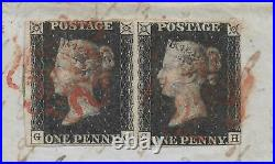 1840 Penny Black Pair (gg&gh) On Large Piece (part Cover) Swansea Au 16th 1840