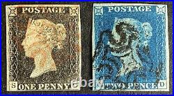 1840 Penny Black Plate 3 & 1840 Two Penny Blue, Both 4 Margins, Postage Stamps