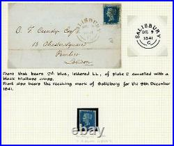 1840 Remarkable ORIGINAL collection of 74 PENNY BLACKS+ 3 x 2d BLUES with covers