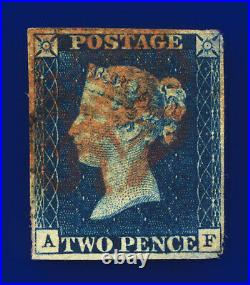 1840 SG4 2d Deep Full Blue Plate 1 DS1 AF Red MX Fair Used Cat £1200 djly
