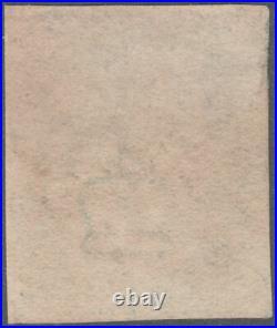 1840 SG5 2d BLUE PLATE 2 FULL STRIKE BLACK MALTESE CROSS 4 MARGINS VARIETY (DE)