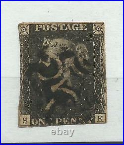 1840 Sg 3, 1d Grey Black (SK) RARE PLATE 11 with Black Maltese Cross, Fine used