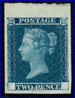 1841 2d Blue Small Trial DP43 Superb Unused Top Marginal Cat. £1,800.00
