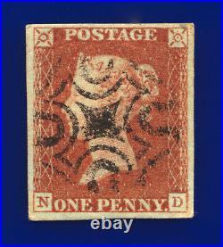1841 SG8L 1d Red-Brown Black Maltese Cross B1tub ND Welshpool MX GU c. £750 dcbh