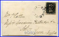 1841 cover to Lynn, Norfolk, with1d grey-black pl. 1b, distinct Stoke Ferry MX