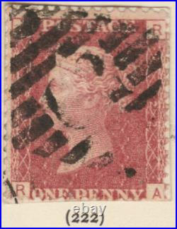 1858/79 SG43/44 1d RED PLATES 199 TO 224 USED HINGED TO ALBUM PAGE CAT £430