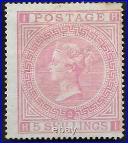 1867 QV SG126 5s Rose HI Plate 2 Average MH NG Mint Hinged CV £18,000