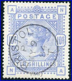 1884 10/- cobalt on blued paper wmk large anchor. S. G. 177a