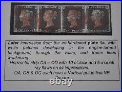 1d BLACK PLATE 1A, OA-OD SUPERB USED STRIP OF 4 WITH CLEAR MARGINS ALL ROUND