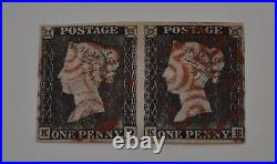 1d Black Plate 1a, Kd Ke Very Fine Used Pair With Clear Margins All Round