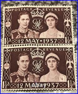 2 RARE UNUSED Great Britain 1937 Coronation Stamp 12th May 1937 1 1/2d
