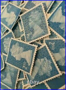 500 x 2nd Class Unfranked Stamps Second HIGHEST QUALITY no gum stamp off paper