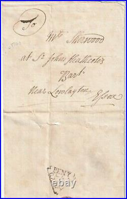 C. 1740 Payd Peny Post Southwark Dockwra Pmk Wrapper London To Low Leyton Essex