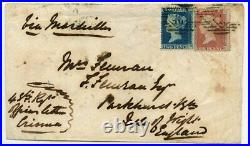 CRIMEAN WAR 1855 cover with 1d and 2d Perf 16 from the Crimea to Isle of Wight