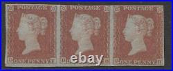 G. B. 1841 1d RED-BROWN DF-DH STRIP OF 3, 4 MARGINS, MINT SG. 8 (REF. E15)