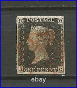 GB 1840 1d penny black 4 good margins superb K-C Victoria SG3 grey-black UK02