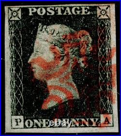 GB 1840 SG3, 1d grey-black PLATE 4, FINE used. Cat £525. RED MX. 4 MARGINS. PA