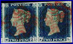GB 1840 SG4, 2d deep FULL blue, FINE USED. Cat £2200. RED MX. PAIR. MK ML