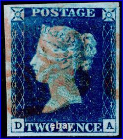 GB 1840 SG5, 2d blue, FINE USED. Cat £1250. RED MX. 4 MARGINS. DA