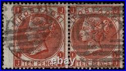 GB 1867 QV SG112 10d Red-Brown J97(1) Scarce Pair Very Fine Used CV £800++