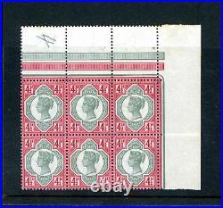 GB 1887 4 1/2d Jubilee Corner Block (6) Hinged Only on Sheet Margin (P743)
