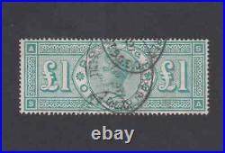 GB 1887 QV Sg 212 £1 One Pound Green Jubilee VFU AS SA Cat £800