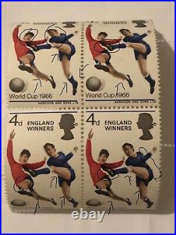 GB 1966 WORLD CUP FOOTBALL ENGLAND WINNERS 4d STAMPS UNMOUNTED MINT BLOCK OF 4 E