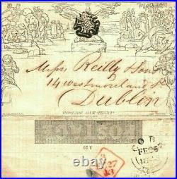 GB Ireland MULREADY ADVERT Cover Distinctive CORK MX 1843 Blue SG. MA120a 161h