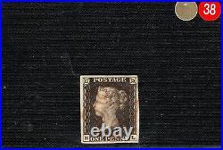GB PENNY BLACK QV Stamp SG. 3 1840 1d Plate 1a (ML) Superb ORANGE MX GRED38