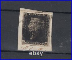 GB QV 1840 1d Penny Black On Piece Fine Used JK4742