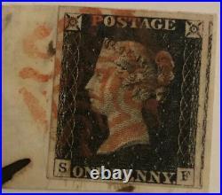 GB QV 1840 1d Penny Black SF Plate 3, 4 Good Margins On Piece Red MX Aylesbury