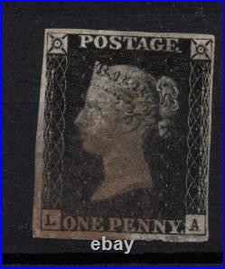 GB QV 1840 1d Penny Black with 4 margins fine used WS23184