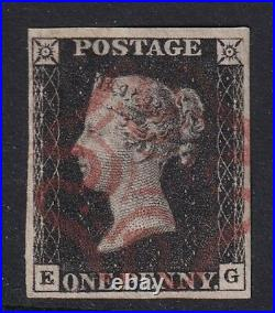 GB QV 1840 PENNY BLACK PLATE 8 FOUR MARGIN WITH A RED MALTESE CROSS-fine used