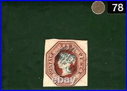 GB QV Embossed Stamp SG. 57 10d Brown Die 2 (1850) VFU Used Cat £1,500+ GOLD78