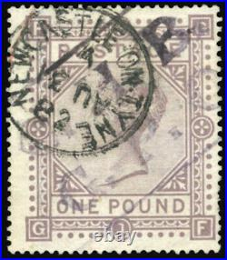 GB QV SG129 £1 Brown Lilac PL 1 GF Very Fine Used with a scarcer Newcastle CDS