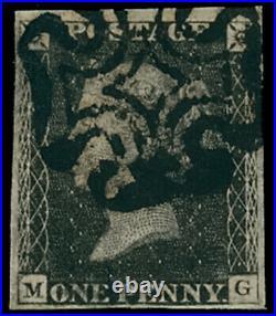 GB QV SG2 1d Penny Black Plate 11 Eleven MG Very Fine Used Rare cv £4500+
