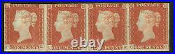 GB QV Scarce 1841 1d Penny Red Strip Of Four (CD-CG) Mounted Mint Stamps