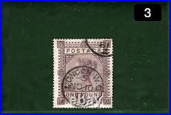 GB QV Stamp SG. 129 £1 Brown-lilac VFU Used 1881 CDS Cat £4,500+75%=£7,875 BLACK3