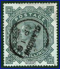 GB QV Stamp SG. 131 10s Blue Paper VFU Used 1883 CDS Cat £4,500+75%=£7,875 BLACK7