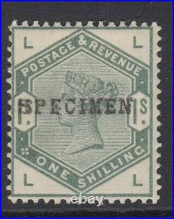 GB SG196s, 1/- DULL GREEN specimen overprint MOUNTED MINT