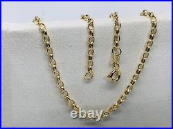Genuine 9ct Yellow Gold 2mm Belcher Chain Necklace Necklet 16 to 24 375 stamp
