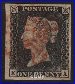 Gran Bretagna 1840 One Penny Black Plate 1a Lett. Ka Superb Grey Black