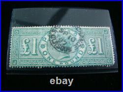 Great Britain Scott #124 One Pound Used $800.00 SCV Nice