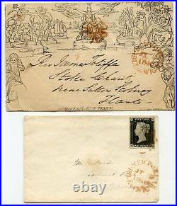 Isle of Wight 1840 Mulready and 1d black cover used same day with orange MX