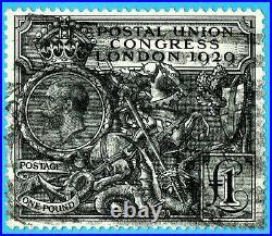Mag756 GB 1929 GEORGE V £1 POUND BLACK SG#438 Scott#209 used cv$800